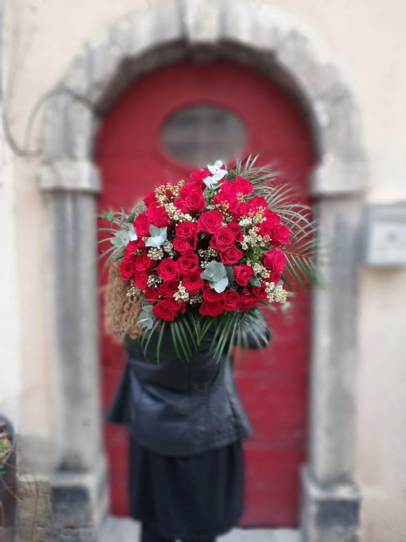 au-paradis-des-fleurs-fleuriste-neuville-sur-saone-mariage bouquet rose
