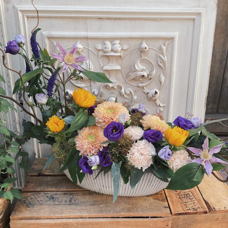 Composition Paulette composition florale fleurs violet et jaune fleuriste Lyon Neuville sur Saone