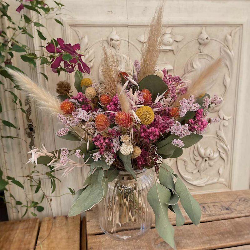 bouquet Marcelle fleurs séchées Jacquie fleuriste lyon neuville sur saone mariage décoration