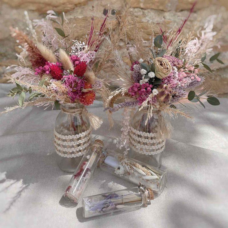 Soliflore Jacquie bouquet fleurs séchées Jacquie fleuriste lyon neuville sur saone mariage décoration
