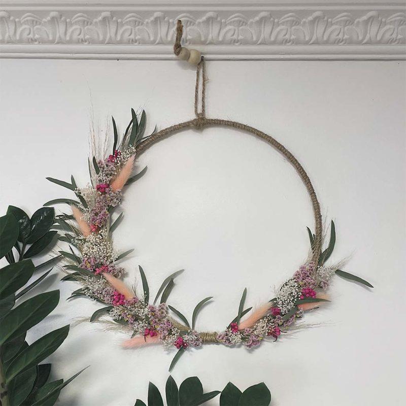 Couronne Louise bouquet séchées fleuriste lyon neuville sur saone mariage décoration