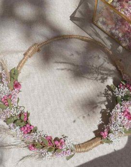 Couronne Louison bouquet séchées Jacquie fleuriste lyon neuville sur saone mariage décoration