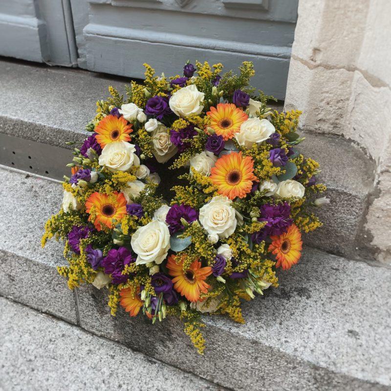 couronne de deuil Célestine décès enterrement Neuville sur Saone Lyon