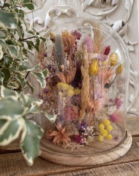 Cloche séchée Blandine bouquet fleurs séchées fleuriste lyon neuville sur saone mariage décoration