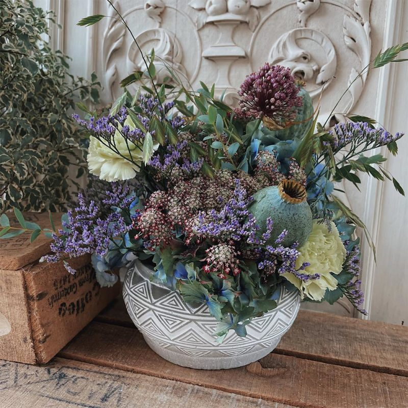 Composition Rollande composition florale fleurs fleuriste Lyon Neuville sur Saone